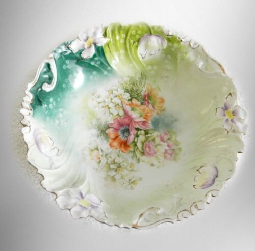 R S Prussia bowl with decorative rim and hand painted flowers FREE SHIPPING