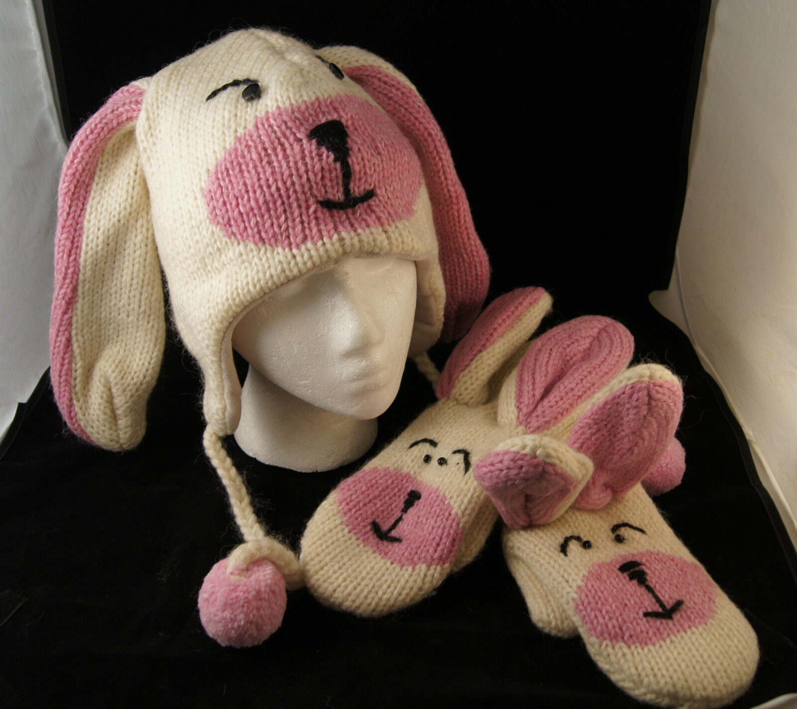 White Rabbit HAT &  MITTENS SET white ADULT costume Easter LINED s r EARS poms  cheaper prices