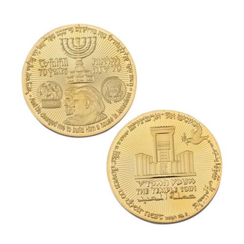Gold Plated 2018 King Cyrus Donald Trump Coin Jewish Temple Jerusalem Israel New