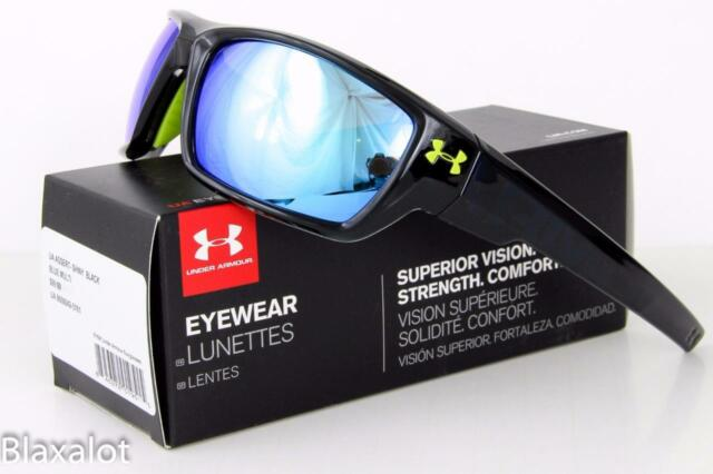 b3a8a8c022db NEW UNDER ARMOUR ASSERT SUNGLASSES UA Shiny Black frame/ Blue Multiflection  lens