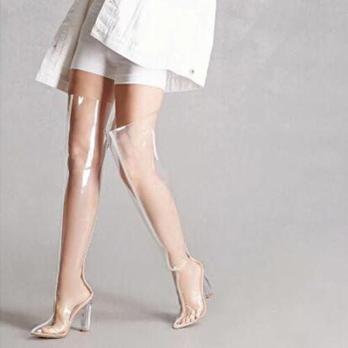 Overkneestiefel Damen Schuhe Transparent Boots Plus Size 34-48 Pumps Sandalen