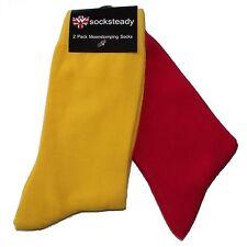 Warrior Clothing Men's 2 Pack Red & Yellow Skinhead Socks