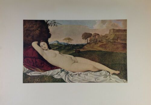 """1955 Vintage Full Color Art Plate /""""SLEEPING VENUS/"""" by GIORGIONE Lithograph"""