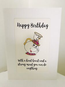 Details about Disney Beauty & The Beast Mrs Potts & Chip Quote Birthday  Celebration Blank Card