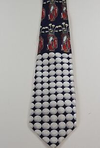 Fratello-Mens-Tie-Handmade-Golf-Design-Blue-White-Red-Classic-Fit