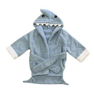 Blue Shark Baby Boy Bathing Gown Splash Wrap Bath Hooded Towel Robe