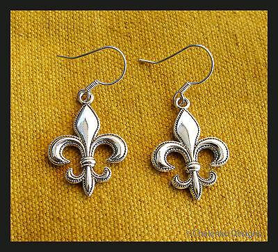 French France Medieval Royalty Paris symbol Fleur de Lis charm dangle earrings