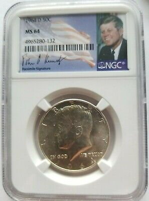 First Year of Issue Label 1964 P and D Silver Kennedy Half Dollars  NGC Ms 66