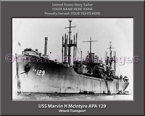 Details about USS Marvin H McIntyre APA 129 Personalized Canvas Ship Photo  Print Veteran Gift