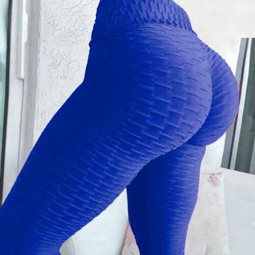 UK Women Yoga Gym Anti-Cellulite Leggings Fitness Solid Butt Lift Elastic Pants