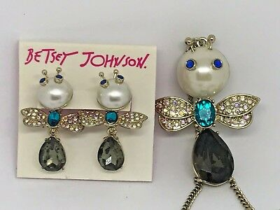 Betsey Johnson Womens Pearl and Rhinestone Front Back Earrings