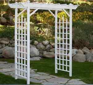 Image Is Loading Garden Arbor White Arch Vinyl Pergola Wedding Backyard