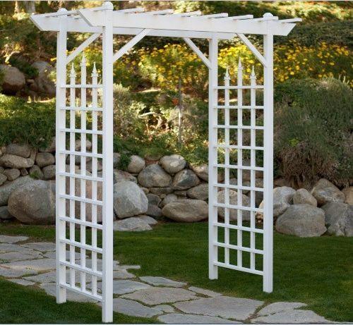 White Garden Arbor Arch Pergola Gate 7 Foot Vinyl Bridal Trellis Yard  Wedding | EBay