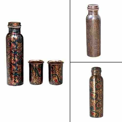 Pure Copper Bottle Modern Art Printed And Outside Lacquer Coated 1 Liter