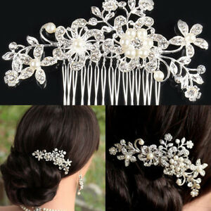 Flower-Wedding-Bridal-Hair-accessories-Comb-Clips-piece-Crystal-Diamante-Pearls