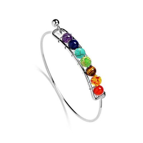 7 Chakra Healing Yoga Reiki Stone Balance Braided Beaded Bracelet Bangle Jewelry
