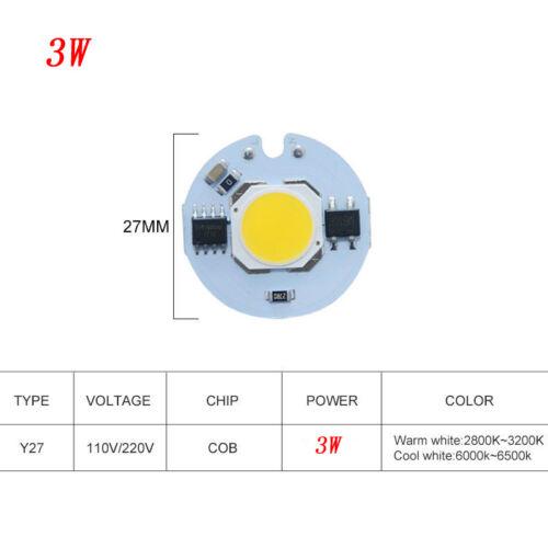 LED Lamp COB Chip 9W 7W 5W 3W Real Power Input Smart IC DIYSpotlight 110V 220V