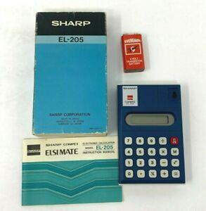 Sharp Elsimate EL-205 Vintage Handheld Calculator New Complete in Box Manual Vtg