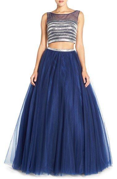 JOVANI Adornado Top & Malla de dos  piezas Azul Marino Baile Vestido De Gala Vestido SZ 4  ¡No dudes! ¡Compra ahora!