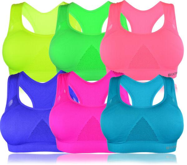 Bügellos Bustier Sport Fitness Soft BH mit Einlagen Trägertop M/L