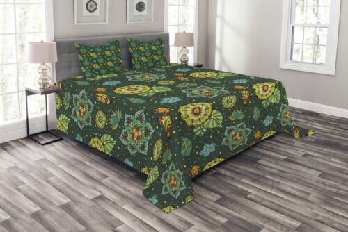 Fantasy Colorful Festive Print Details about  /Floral Quilted Bedspread /& Pillow Shams Set