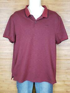 Calvin-Klein-Red-Heathered-Short-Sleeve-Polo-Mens-Size-XL-EUC