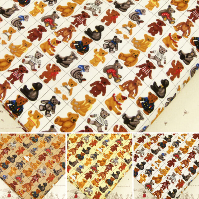 Cotton Print Fabric by FQ Baby Bear Doll Toy Children Cartoon Dress Quilting VA1