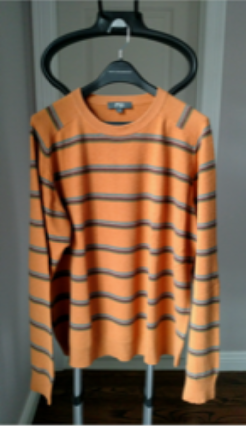 EUC Fiji Orange Striped 100% Cashmere Sweater SZ XL