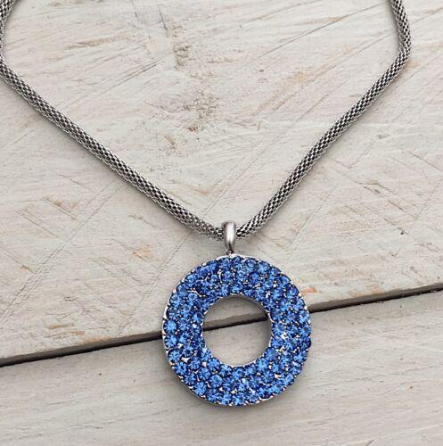 Halskette Schlangenkette Strasskette hellblau NEU grosser Donut Anhänger
