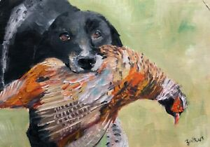 Print-of-original-oil-painting-art-springer-spaniel-pheasant-home-decor-country