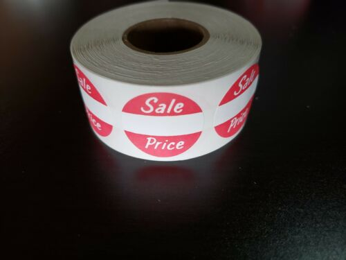 "Roll of 500 Self-Adhesive Sale Price 1/"" Round Merchandise Label Sticker Tag Yard"