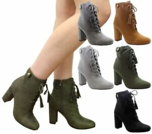 Womens Ziped Ankle Boots Ladies High Block Heel Lace Up Fringe Shoes Size UK 3-8