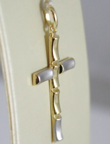 Details about  /18K WHITE AND YELLOW GOLD CROSS STYLIZED VERY LUSTER MADE IN ITALY 1.34 INCHES