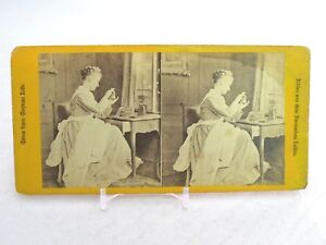 Vtg-Stereoview-Stereoscope-Card-Gems-From-German-Life-Woman-Sewing-Needlepoint