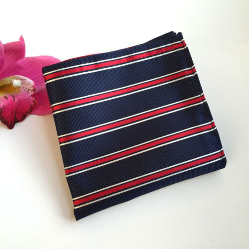 US052 Men White Red Stripe Navy Blue Silk Tie Match Hanky Pocket Square Set Lot