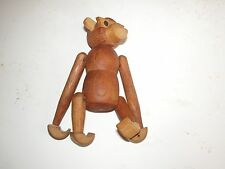 "Unmarked Teak Wooden Mid Century Hanging Monkey with Glasses 5"" x 3 1/2"""
