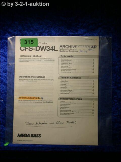 Sony Manual Cfs Dw34l Cassette Corder   0315