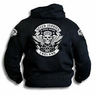 Speed Junkies London Biker Skull Wings Pistons Patch Mens Hoddie Hooded Top