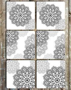 Black-and-Grey-Mandala-Coasters-Set-of-6-Non-Slip-Neoprene
