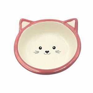 4 X Katze Kätzchen Porzellan Pink Futter Wasser Näpfe Schale 13CM - 12.7cm
