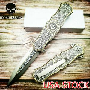 Spring Assisted Knives Tactical Folding Knife Steel Handle Pocket Knives Hunting
