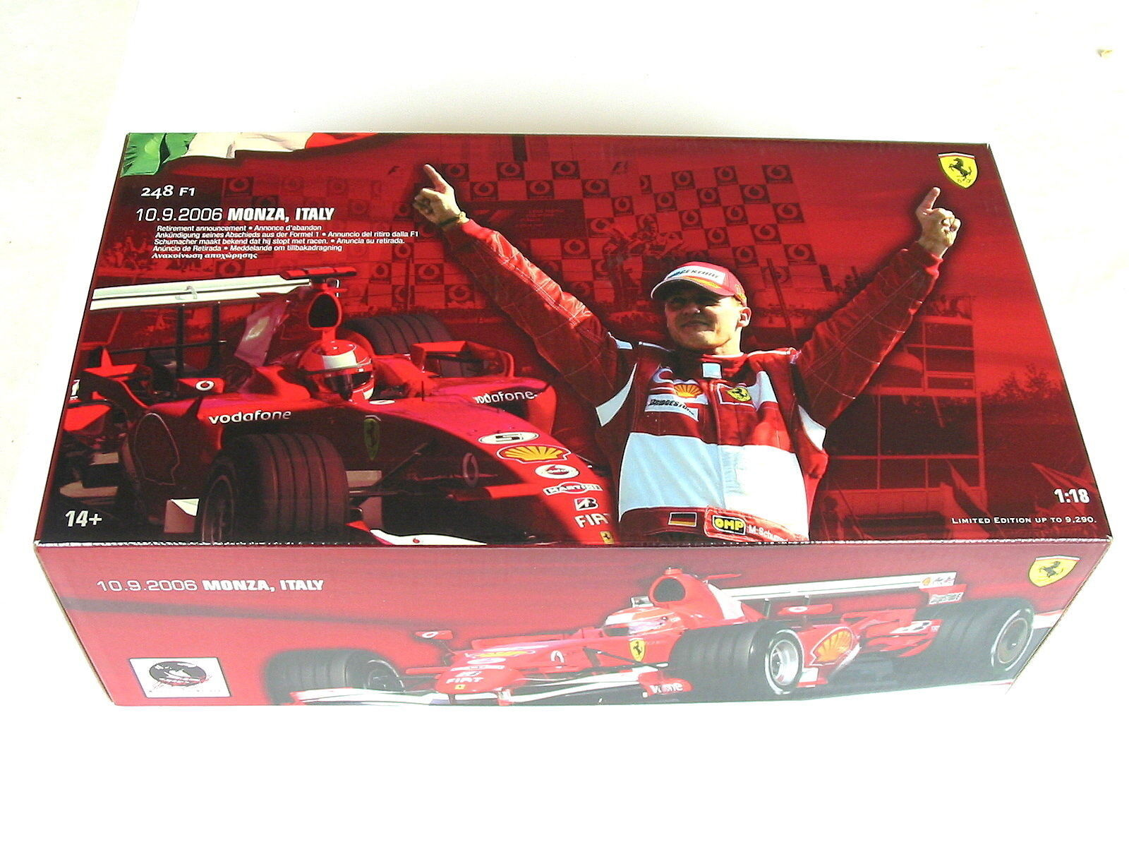 FERRARI 248 248 248 f1 Schumacher personaggio GP ITALY Winner Monza 2006 MSC HW j2994 1/18 OVP f48b14