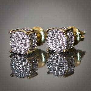 7mm Round Stud Earrings Round Micro Pave Cubic Zirconia Screwback 925 Sterling Silver Hip-Hop Iced Out