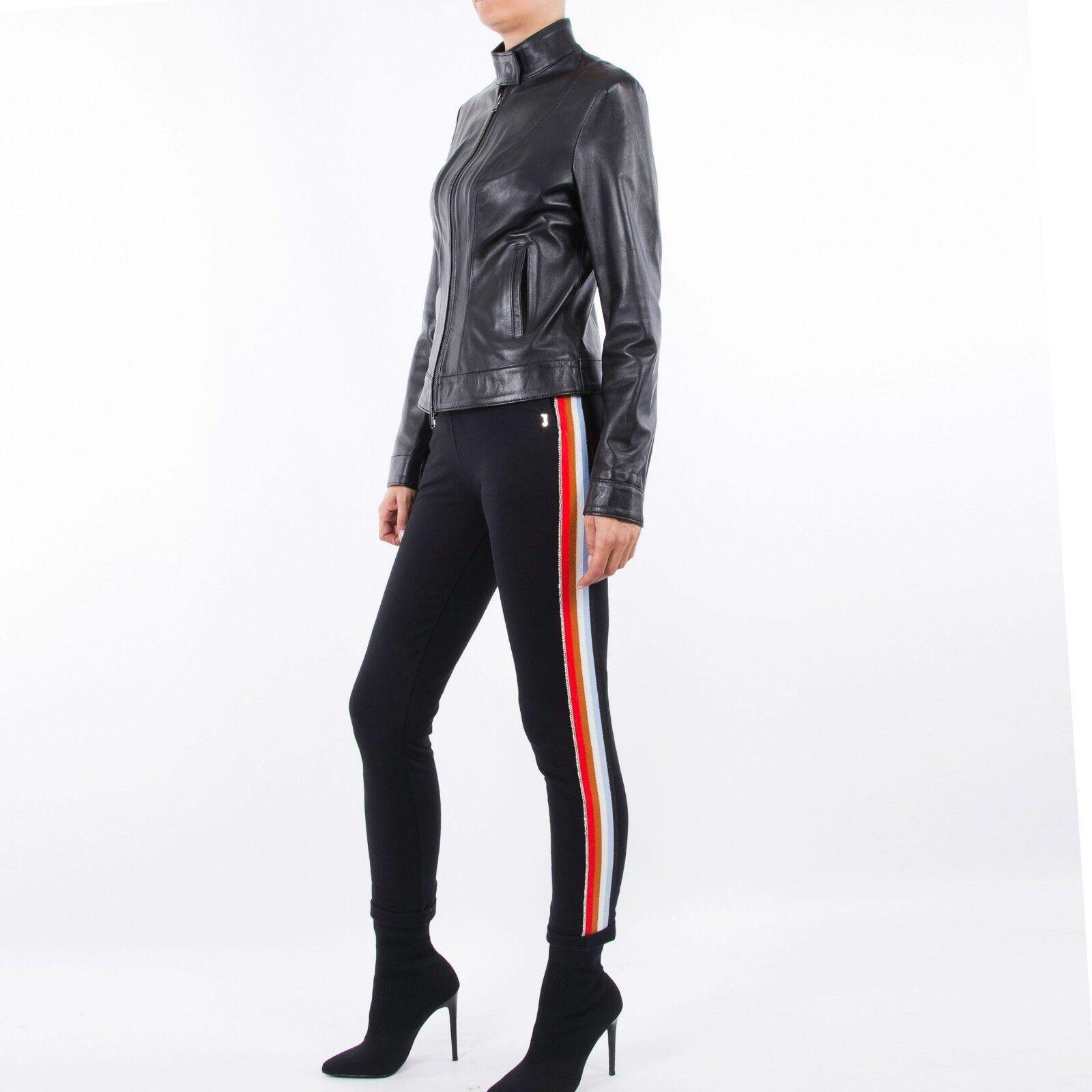 Hecho a mano cuero genuino cordero italiano de Mujer Simple  Slim Fit Chaqueta Negro  compras en linea