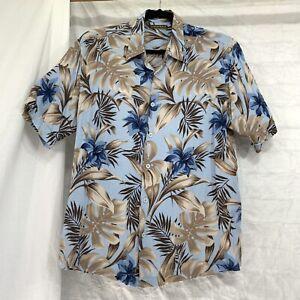 CUBAVERA-XL-Herren-Hemd-Hawaii-Blau-Braun-Floral-Button-Camp-Kunstseide-v