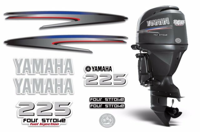 Yamaha 225 4 Stroke HP Decal Kit Outboard Engine Graphic 225hp Sticker USA MADE