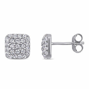 Amour Sterling Silver Cubic Zirconia Square Cluster Stud Earrings