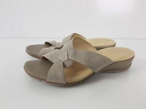 Wide-Steps-Taupe-Soft-Leather-Low-Heel-Slide-Mule-Sandal-Women-039-s-Size-8-5-SlipOn