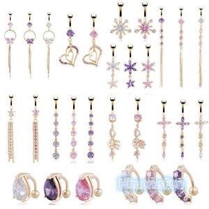 Gold-Crystal-Rhinestone-Belly-Button-Ring-Dangle-Navel-Body-Piercings-Fashion