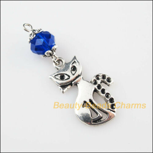 5Pcs Tono Plata Tibetana Cuentas De Cristal Azul Gato Animal Encantos Colgantes 16x40mm